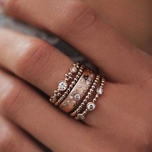 Jewelry - Fashion Rose Gold Stackable Ring Set - NEW!